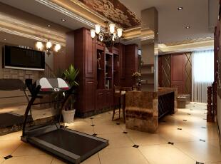 地下室休闲空间 简约欧式装修风格以其典雅、自然、高贵的气质见长,特别是在生活元素多元化的今天,欧式风格的家居设计更以其浪漫的情调备受青睐,天津别墅装修,天津别墅设计,欧式风格装修,简欧风格装修,室内设计效果,欧式,原木色,玄关,新古典,红色,
