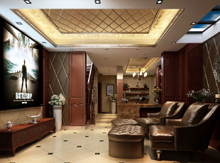 地下室设计 简约欧式装修风格以其典雅、自然、高贵的气质见长,特别是在生活元素多元化的今天,欧式风格的家居设计更以其浪漫的情调备受青睐,天津别墅装修×,天津别墅设计,欧式风格装修,室内设计效果,简欧风格装修,玄关,欧式,新古典,原木色,红色,
