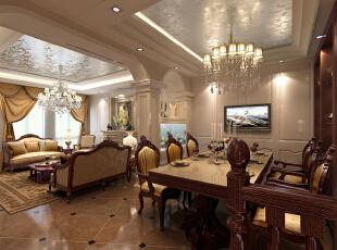 餐厅设计 简约欧式装修风格以其典雅、自然、高贵的气质见长,特别是在生活元素多元化的今天,欧式风格的家居设计更以其浪漫的情调备受青睐,天津别墅设计,天津别墅装修,欧式风格装修,室内设计效果,简欧风格装修,餐厅,客厅,欧式,新古典,原木色,红色,
