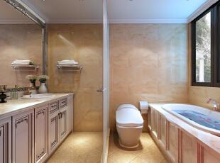 卫生间设计 简约欧式装修风格以其典雅、自然、高贵的气质见长,特别是在生活元素多元化的今天,欧式风格的家居设计更以其浪漫的情调备受青睐,天津别墅设计,天津别墅装修,欧式风格装修,室内设计效果,简欧风格装修,卫生间,欧式,新古典,简约,原木色,黄色,白色,