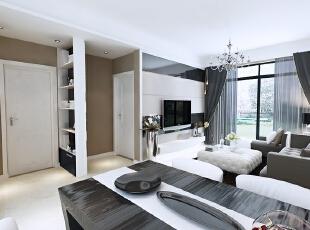 北城世纪城98平方现代风格玄关装修效果图,98平,7万,现代,三居,客厅,黑白,