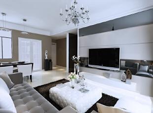 北城世纪城98平方现代风格客厅装修效果图,98平,7万,现代,三居,客厅,黑白,