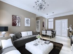 北城世纪城98平方现代风格客厅装修效果图,98平,7万,现代,三居,黑白,客厅,