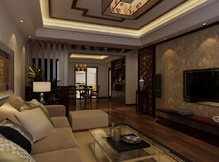 采用进门玄关装饰空间,兼顾风水。,128平,14万,中式,三居,客厅,
