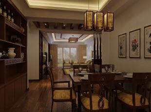 餐厅与客厅采用吊顶隔断开,采用中式元素,但带有现代元素。,128平,14万,中式,三居,餐厅,