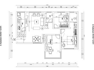 郑州中豪汇景湾120平三室两厅北欧装修效果图案例——户型平面布局图,120平,12万,欧式,三居,