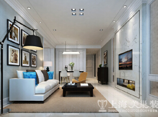 中豪汇景湾120平三室两厅装修简欧案例效果图——客厅全景效果图,120平,12万,欧式,三居,