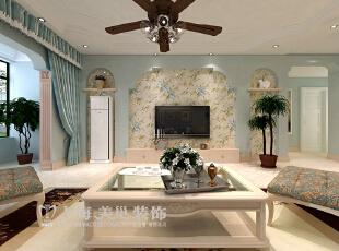 郑州升龙又一城142平三室两厅装修样板间——电视背景墙装修效果图,142平,5万,美式,三居,客厅,
