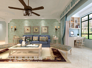 升龙又一城142平三室两厅装修案例——客厅装修效果图,142平,5万,美式,三居,客厅,