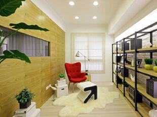 栓木层板以铁件架构串联,平衡大量木头色彩的沉重。没有太多订制家具的书房,也能成为年幼孩童与父母的交流天地,89平,11万,欧式,三居,书房,