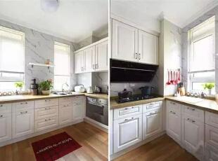 【厨房】  白色的实木橱柜配上米黄色的台面,颜色搭配美极了。,262平,32万,美式,四居,厨房,