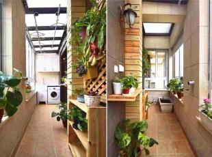 【阳台】  阳台的绿植和阳光房似的装修,让整个阳台充满了生机,262平,32万,美式,四居,阳台,