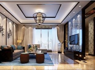 ,300平,100万,中式,别墅,客厅,