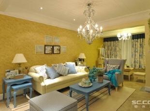 客厅以田园地中海风格为主,以暖黄色为主色调,以蓝色为辅。相互映衬搭配出有地中海特色的装修风格,加上田园风格的造型增添了清新、活泼的氛围,为主人的生活增添自然闲适的情调。,90平,12万,地中海,两居,