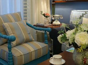 ,90平,10万,地中海,两居,客厅,蓝色,白色,