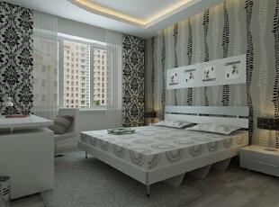 设计理念:主卧背景墙采用了欧式花纹的壁纸,点缀了较暗的局部光源,使身处其中的主人可以全身心的放松。 亮点:将主卫改为衣帽间,南北窗通透,增加储物空间,扩大主卧使用面积。,100平,7万,现代,三居,卧室,黑白,
