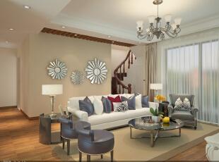 客厅及楼梯。沙发后面的墙是主人房的衣帽间。,109平,18万,美式,复式,绿色,白色,客厅,简约,