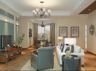 客厅和餐厅。,109平,18万,美式,复式,餐厅,客厅,绿色,白色,