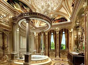【卫生间】本空间是设计师改造添加的,与卧室相连。顶棚将洗漱和洗浴的区域进行了顶层划分。全部采取大块瓷砖来增强视觉的空间感,地面的理石采取黑色为重点色进行搭配,有稳定视觉效果及对应顶层区域的作用。圆形浴缸与顶层天花相得益彰,均是见方见圆的对比搭配,在三面采光配合水晶吊灯的空间定位下,让洗浴区与自然有了互动,大气而华美。,300平,20万,混搭,别墅,卫生间,黄色,