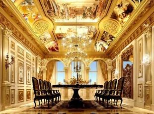,300平,20万,混搭,别墅,餐厅,黄色,