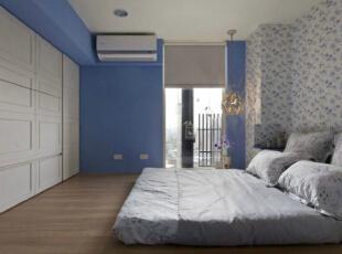,卧室,地中海,蓝色,