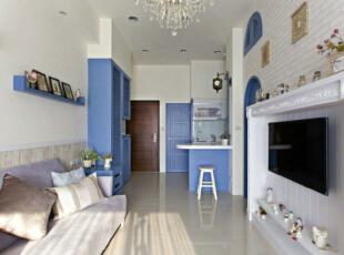,地中海,客厅,蓝色,
