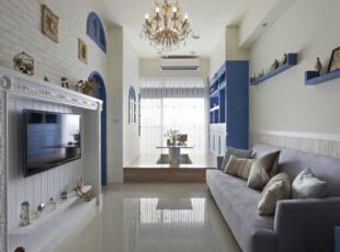,客厅,地中海,蓝色,