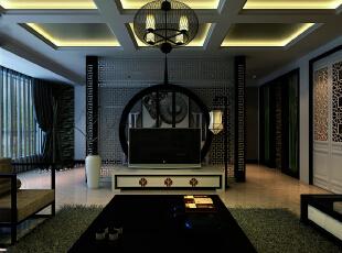 吊顶采用与电视背景墙相呼应,天圆地方。回形纹的造型,加上传统的屏风造型。,170平,16万,中式,大户型,客厅,黑白,