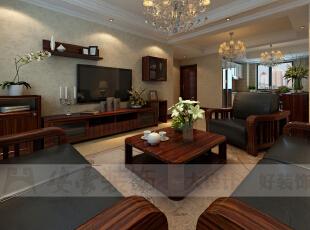 电视背景,没有过多的硬装部分,有的只是些实用的小柜子,同时又满足了美观的需求,电视柜选择 与气体家具同样的材质,使得空间的整体感更强,背景壁纸选择淡雅的颜色,不抢风头,安静地衬托出整个环境的的优雅。,132平,6万,美式,三居,红色,客厅,