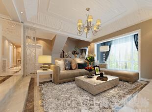 鑫苑名家230平现代简约装修风格——客厅沙发样板间,230平,40万,现代,复式,