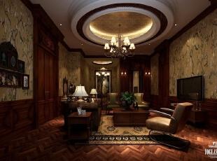 起居室 :为了让整个空间看起来不突兀,书房和工作间用墙纸来衬托老式的家具。西洋做旧的双色花草墙纸,通过不同层次的灰度来表现。,450平,20万,现代,一居,