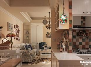 厨房设计: 开放空间里,借由雾面浅米色地砖与复古砖的跳接,界定空间独立,117平,16万,田园,两居,