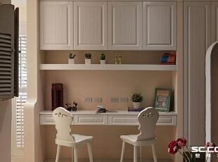 书房设计: 移除房间墙面后,拉阔廊道面积,并纳入阅读区功能,不浪费丝毫,117平,16万,田园,两居,