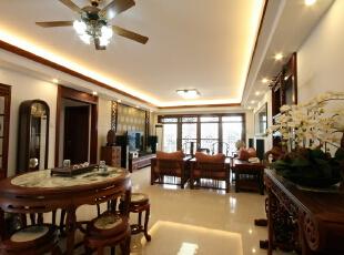 ,140平,22万,中式,三居,客厅,