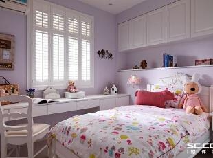 儿童房设计: 浅紫色的女孩房,以白色系柜体与家具,辅以童趣造型寝饰,呈现天,117平,16万,田园,两居,