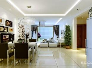 壁纸和玻璃茶镜也装饰于空间中。挂画和绿色的植物也是很好的点缀。,132平,9万,现代,三居,
