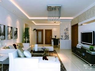 在室内,窗帘、椅子、沙发套、等均以黑白色调和棉织品为主。,132平,9万,现代,三居,