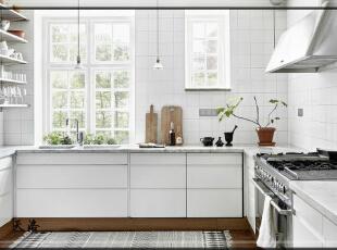 ,420平,80万,欧式,别墅,厨房,白色,原木色,黑白,