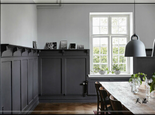 ,420平,80万,欧式,别墅,餐厅,黑白,原木色,