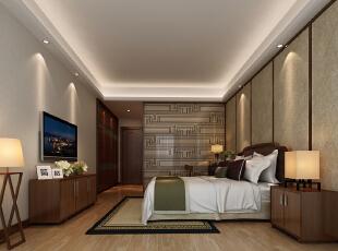 ,200平,50万,四居,中式,卧室,原木色,
