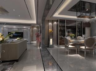 ,180平,40万,现代,四居,餐厅,黑白,