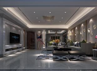 ,180平,40万,现代,四居,客厅,黑白,