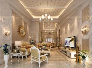 ,500平,200万,欧式,别墅,客厅,黄色,