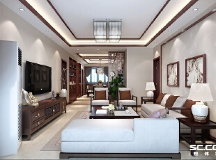 ,140平,10万,四居,中式,客厅,