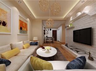 ,88平,6万,现代,两居,客厅,