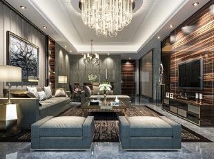,110平,30万,现代,四居,客厅,黑白,