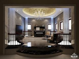 起居室设计中渗透了典雅的贵族气息,点滴的细节中有蕴含了时尚元素,四边通长的水晶吊灯为整个空间营造出一份不出寻常的典雅大气。,300平,3万,简约,别墅,客厅,黑白,