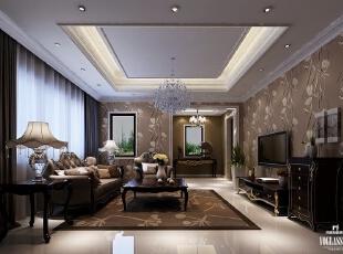 客厅运用白色大理石,壁纸与地毯搭配咖色系布艺软质沙发,配以深色木质家具,舒适而典雅,沉稳而大方,一室柔和自然的灯光,衬托出以高贵冷艳的金属色调组成的居停,营造自成一格的都会氛围。,300平,3万,简约,别墅,客厅,黑白,