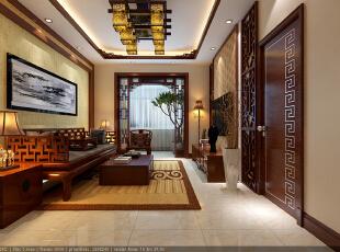 ,85平,7万,中式,两居,客厅,阳台,原木色,