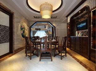 ,200平,40万,中式,四居,餐厅,原木色,